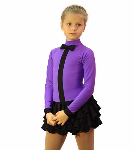 термоплатье бантик фиолетовое с черным вид спереди главная