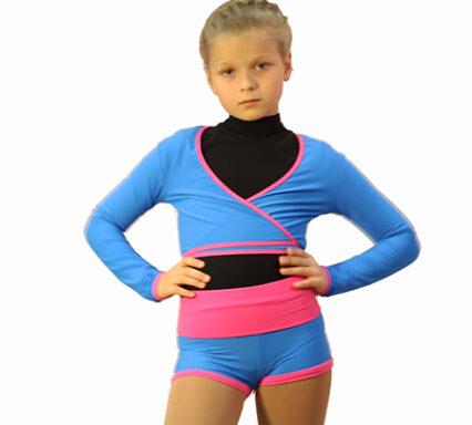 комплект шорты и болеро голубое с розовым широкий пояс боковой передний вид главная