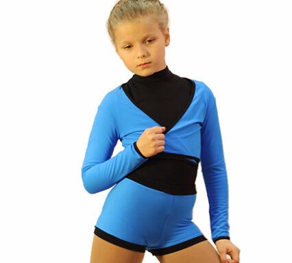 комплект шорты и болеро голубой с черным узкий пояс передний вид главная