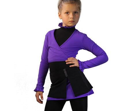 комплект юбка 023 с удлинненым болеро фиолетовый боковой передний вид главная