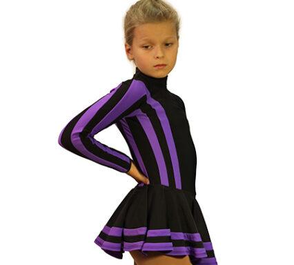 термоплатье полоска черное с фиолетовым боковой  вид главная