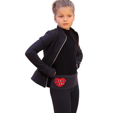 термокомплект hearts с брюками темно-серый с красным боковой передний вид