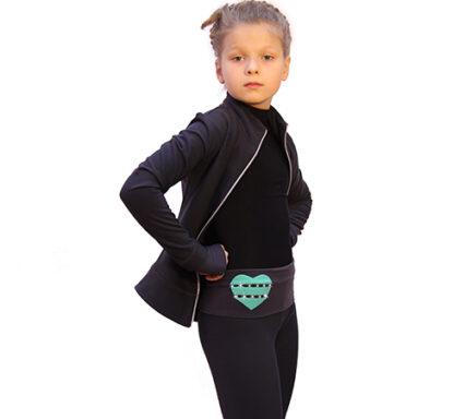 термокомплект hearts с брюками темно-серый с мятным боковой передний вид