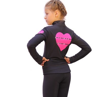 термокомплект hearts темно-серый с розовым с брюками задний вид
