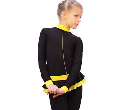 тембинезон с юбочкой черный с желтым боковой передний вид2