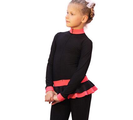 тембинезон с юбочкой черный с коралловым боковой передний вид