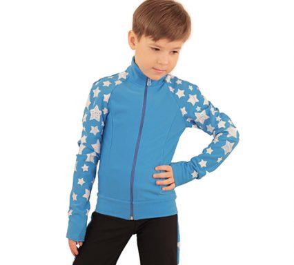 термокомплект звездный на мальчика голубой с черным передний вид