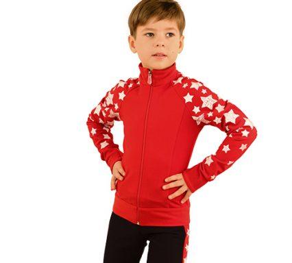 термокомплект звездный на мальчика красный с черным передний вид