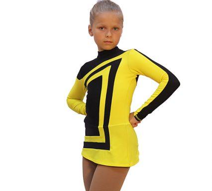 термоплатье авангард черное с желтым боковой передний вид