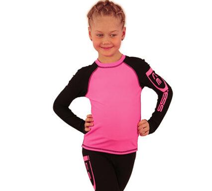 лонгслив+лосины IceDress ярко-розовый с черным  передний вид2