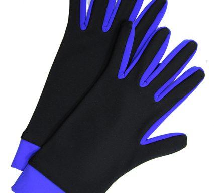 перчатки двухцветные черный+васильковый
