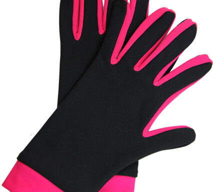 перчатки двухцветные черный+малиновый