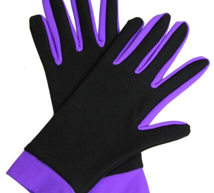 перчатки двухцветные черный+фиолетовый