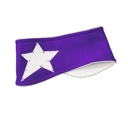повязка Звездочка со стразами бело-фиолетовая