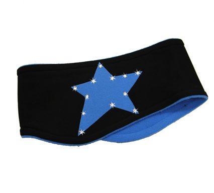 повязка Звездочка со стразами черно-голубая