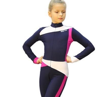 тембинезон skating серо-синий темный с фуксией передний  вид