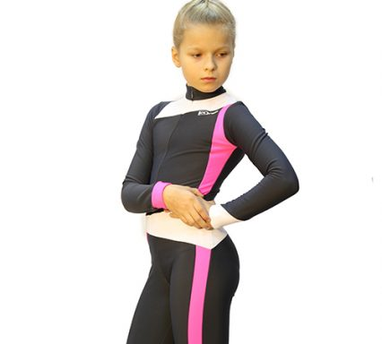 тембинезон skating темно-серый с ярко-розовым боковой передний  вид