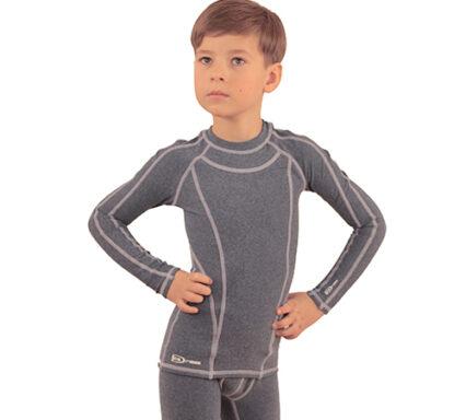 термобелье на мальчика серо-голубой меланж с белой отстрочкой  вид спереди аватар