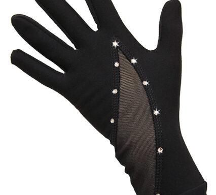 термоперчатки черные с сеткой и стразами.