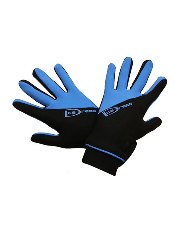 термоперчатки IceDress двухцветные черный+голубым2