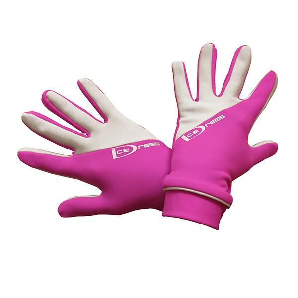 термоперчатки IceDress двухцветные ярко-розовый+белый