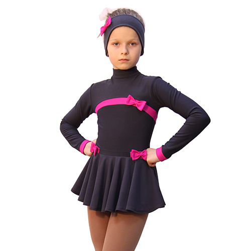 термоплатье бантики темно-серое с фуксией  +повязка+чехлы с бантками боковой передний вид