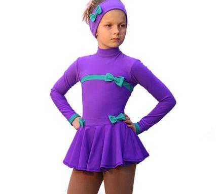 термоплатье бантики фиолетовое с мятным + повязка с бантками  передний вид