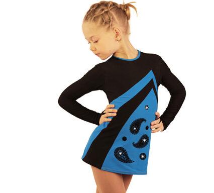 термоплатье Velvet голубой с черным боковой передний вид