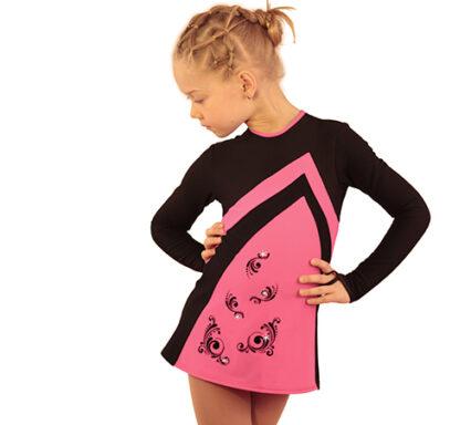 термоплатье Velvet розовый с черным передний вид