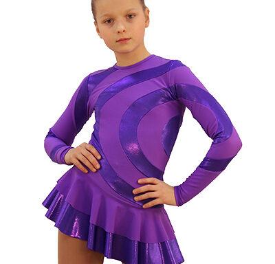 термоплатье серпантин фиолетовое  с фиолетовой лайкрой передний вид