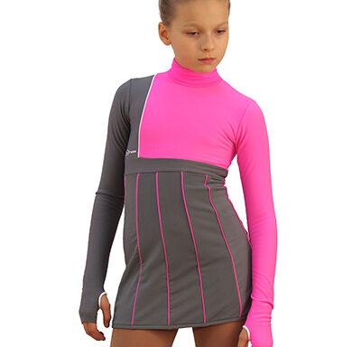 термоплатье IceArt светло-серый с ярко-розовым передний вид