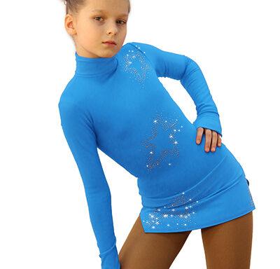 термоплатье Super Star голубое с серебром передний вид2